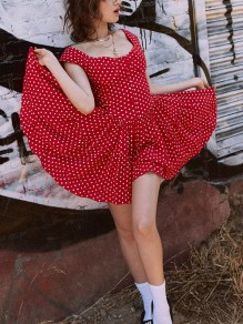 Red Polka Dot Print Draped Round Neck Sleeveless Bohemian Mini Dress