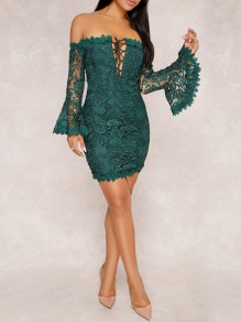 Green Lace Cut Out Drawstring Lace-up Off Shoulder Backless V-neck Flare Sleeve Bodycon Mini Dress