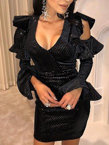 Black Sequin Cut Out Ruffle Flare Long Sleeve Bodycon Clubwear Glitter Sparkly Birthday Party Hot Mini Dress