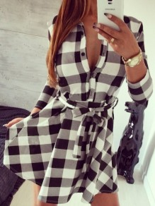 Black-White Plaid Print Belt Turndown Collar V-neck Long Sleeve Peplum Preppy Style Mini Dress