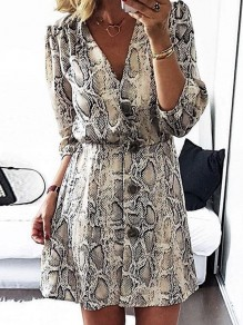 Grey Snake Animal Button V-neck Long Sleeve Elegant Mini Dress