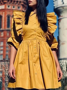 Yellow Ruffle Single Breasted Turndown Collar Fashion Mini Dress
