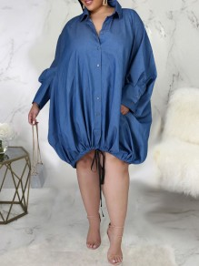 Blue Patchwork Pockets Buttons Drawstring Turndown Collar V-neck Long Sleeve Plus Size Mini Dress