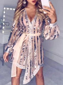 Champagne Striped Sequin Irregular Deep V-neck Lantern Sleeve Sparkly Banquet Party Mini Dress