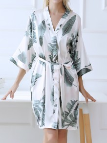 White Floral Sashes Pocket V-neck Fashion Kimono Pajamas Mini Dress