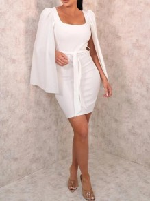 White Sashes Square Neck Cape Bodycon Banquet Party Mini Dress
