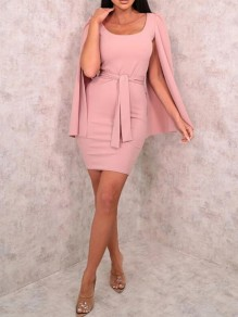 Pink Sashes Square Neck Cape Bodycon Banquet Party Mini Dress