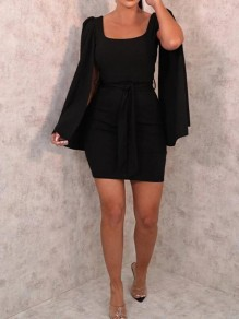 Black Sashes Square Neck Cape Bodycon Banquet Party Mini Dress
