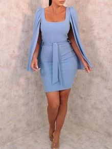 Sky Blue Sashes Square Neck Cape Bodycon Banquet Party Mini Dress