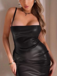 Black Spaghetti Strap PU Leather Latex Rubber Bodycon Party Mini Dress