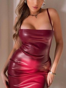Red Spaghetti Strap PU Leather Latex Rubber Bodycon Party Mini Dress
