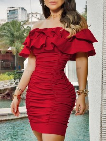 Red Off Shoulder Cascading Ruffle Bodycon Party Minikleid