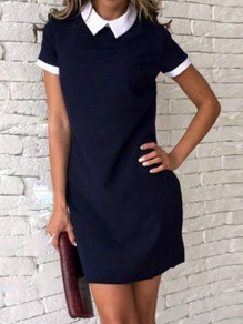 Navy Blue Peter Pan Collar Short Sleeve Cute Mini Dress