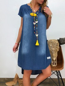 Blue High-low V-neck Short Sleeve Fashion Denim Mini Dress