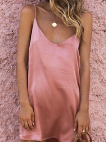 Pink Spaghetti Strap Backless V-neck Sleeveless Sweet Mini Dress