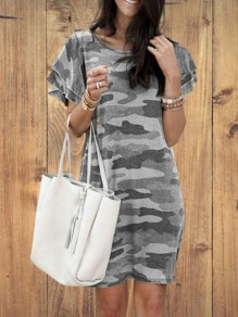 Grey Camouflage Pattern Flutter Sleeve Plus Size Oversized Casual Mini Dress