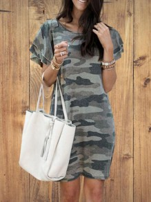 Army Green Camouflage Pattern Flutter Sleeve Plus Size Oversized Casual Mini Dress