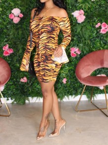 Yellow Tiger Print Off Shoulder Bodycon Flutter Sleeve Party Mini Dress