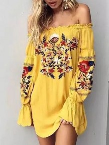 Yellow Mexican Embroidery Print Off Shoulder Flare Long Sleeve Mexico Mini Dress