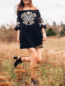 Black Mexican Embroidery Print Off Shoulder Flare Long Sleeve Mexico Mini Dress