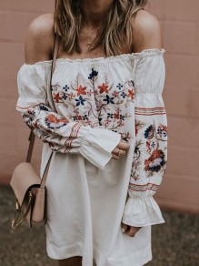 White Mexican Embroidery Print Off Shoulder Flare Long Sleeve Mexico Mini Dress