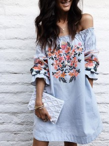 Blue Mexican Embroidery Print Off Shoulder Flare Long Sleeve Mexico Mini Dress