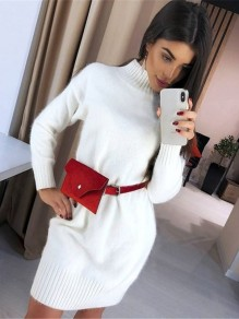 White High Neck Long Sleeve Fashion Sweater Mini Dress