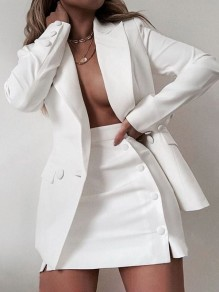 White Buttons Pockets Tailored Collar Long Sleeve Blazer Two Piece High Waisted Skirt Work Mini Dress