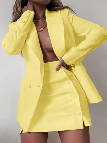 Yellow Buttons Pockets Tailored Collar Long Sleeve Blazer Two Piece High Waisted Skirt Work Mini Dress