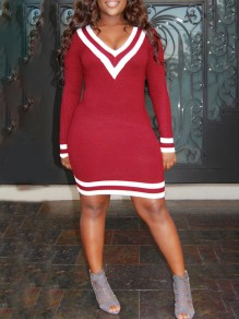 Red Striped Print V-neck Long Sleeve Bodycon Cricket Sweater Cute Mini Dress