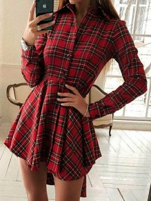 Red Plaid Flannel Print Buttons Turndown Collar V-neck Long Sleeve High-Low Homecoming Mini Dress
