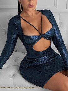 Blue Sequin Print Cut Out V-neck Long Sleeve Bodycon Clubwear Glitter Sparkly Birthday Party Mini Dress