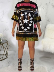 Black Colorful Sequin Star Print Elbow Sleeve Glitter Sparkly Plus Size Clubwear Sequence Jersey Mini Dress