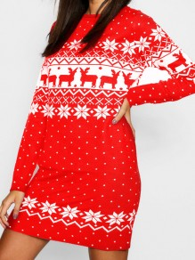 Red Christmas Print Round Neck Long Sleeve Cute Mini Dress