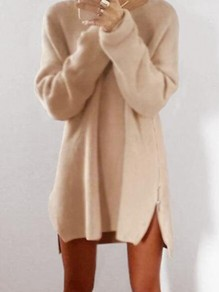 Apricot Zipper Loose Round Neck Long Sleeve Cute Mini Dress