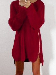 Wine Red Zipper Loose Round Neck Long Sleeve Cute Mini Dress