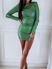 Green Sparkly Bodycon Long Sleeve Elegant Cocktail Party Mini Dress