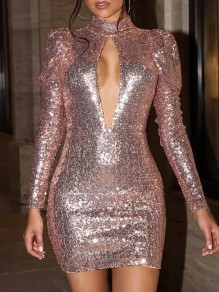 Champagne Sequin Cut Out Band Collar Puff Long Sleeve Backless Bodycon Glitter Sparkly Birthday Party NYE Mini Dress