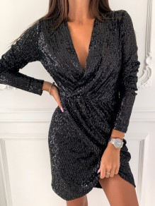Black Patchwork Sequin Irregular V-neck Long Sleeve Fashion Mini Dress