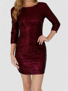 Wine Red Sequin Glitter Sparkly Backless Bodycon Elegant Mini Dress