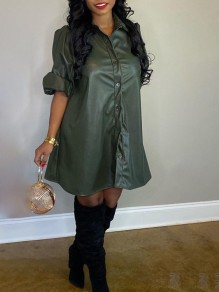 Army Green Single Breasted Turndown Collar Long Sleeve PU Leather Vinyl Casual Mini Dress