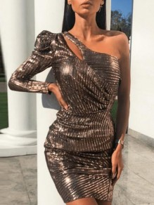 Brown Striped Irregular Sequin Asymmetric Shoulder Bodycon NYE Banquet Party Mini Dress