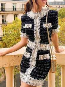 Black-White Patchwork Single Breasted Half Sleeve Elegant Banquet Party Mini Dress