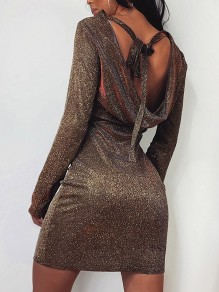 Brown Sparkly Backless Tie Back Bodycon Cocktail Party Mini Dress