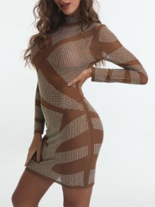 Silver Patchwork Grenadine High Neck Long Sleeve Sheer Bodycon Glitter Sparkly Birthday Party Mini Dress