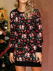 Black Christmas Santa Claus Print Round Neck Long Sleeve Cute Mini Dress