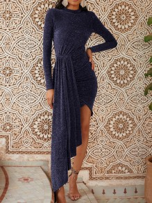 Blue Irregular Sparkly Bodycon Round Neck Long Sleeve Elegant Mini Dress