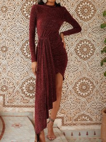 Red Irregular Sparkly Bodycon Round Neck Long Sleeve Elegant NYE Prom Party Mini Dress