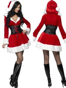 Red Plain Belt Christmas Santa Claus Long Sleeve Fashion Mini Dress