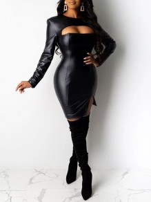 Black Cut Out Long Sleeve Slit Hip Bodycon PU Leather Vinyl Mini Dress
